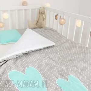 niepowtarzalne pokoik dziecka pościelwserduszka pościel do łóżeczka dwa serca mięta