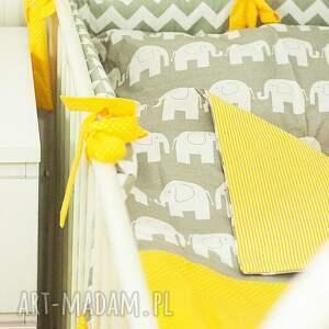 żółte pokoik dziecka pościel rozm. m szare słonie