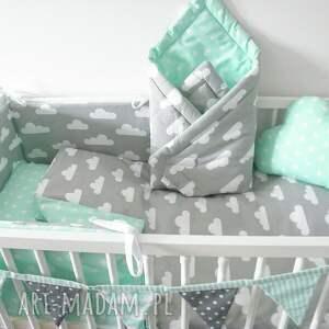 turkusowe pokoik dziecka dziecięca pościel 100x135 chmurki gwiazdki