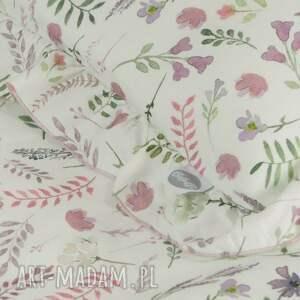 pokoik dziecka: Pościel z falbanką 100x135 Akwarelowe kwiatki dziecięca