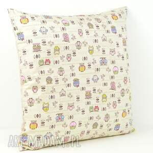 hand made pokoik dziecka poduszka poszewka na poduszkę 45x45cm - sowy