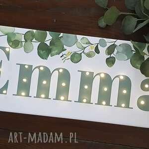 hand made pokoik dziecka liście neon personalizowany obraz led