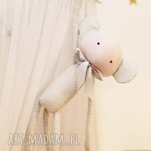 hand-made pokoik dziecka bawełna przytulanka małpka krystyna (białe