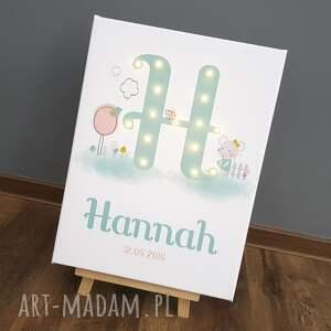 modne pokoik dziecka chrzest świecąca litera led pastelowa