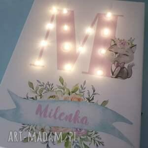 pastele pokoik dziecka białe świecąca litera led obraz