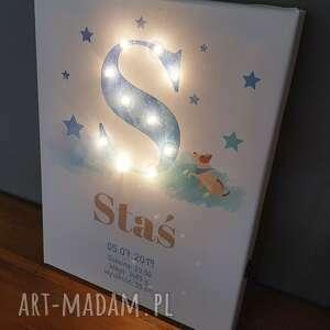 pokoik dziecka: ŚWIECĄCA litera LED personalizowany obraz metryczka dla chłopca prezent niemowlaka