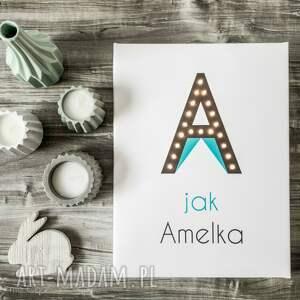 hand-made pokoik dziecka obraz świecąca litera j z imieniem