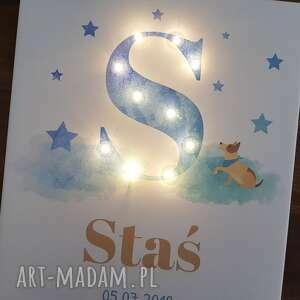 COSnieCOS pokoik dziecka: ŚWIECĄCA litera LED personalizowany obraz metryczka dla chłopca prezent roczek