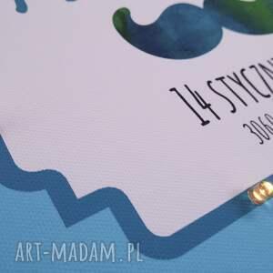 hand made pokoik dziecka świecąca metryczka litera imię wąsy