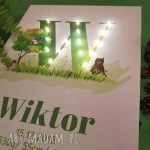 pokoik dziecka woodland świecąca metryczka z literą