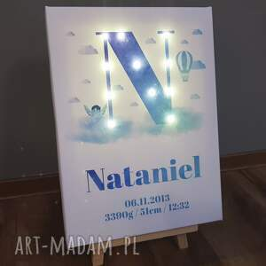 niebieskie pokoik dziecka litera świecąca metryczka imię prezent