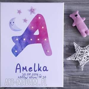 narodziny pokoik dziecka świecąca metryczka litera led imię