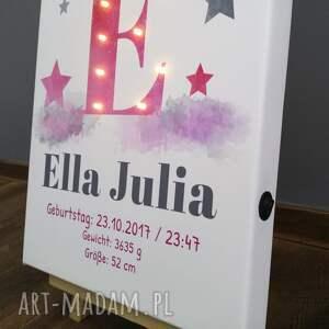 obraz pokoik dziecka świecąca metryczka imię prezent