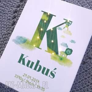 zielone pokoik dziecka metryczka świecąca imię prezent