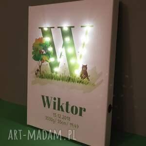 led pokoik dziecka zielone świecąca metryczka z literą