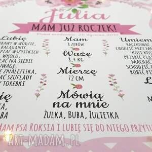 różowe pokoik dziecka prezent świecąca tablica urodzinowa