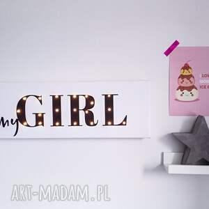 czarne pokoik dziecka lampka świecący napis mygirl prezent