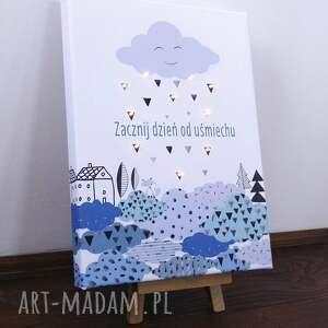 skandynawski pokoik dziecka świecący obraz led motto typografia