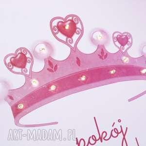 ksieżniczka pokoik dziecka świecący obraz led z koroną pokój