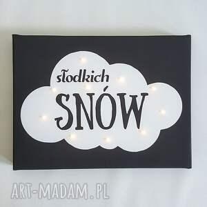ręcznie zrobione pokoik dziecka lampka obraz typograficzny z napisem słodkich snów