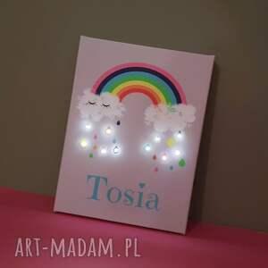 prezent pokoik dziecka świecący obraz led tęcza z imieniem