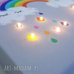 szare pokoik dziecka lampka świecący obraz tęcza prezent