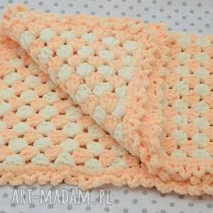 pomarańczowe pokoik dziecka koc szydełkowy kocyk dla maluszka -