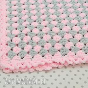 różowe pokoik dziecka kocyk szydełkowy dla maluszka - róż