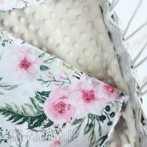 pokoik dziecka: Tetrowy otulacz - różowe kwiaty - niemowle poduszka
