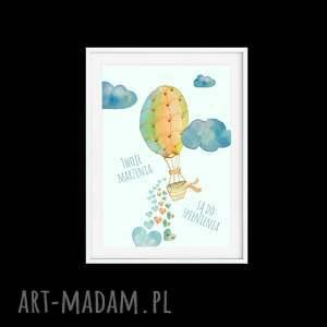żółte pokoik dziecka baloniki tryptyk twoje marzenia a4
