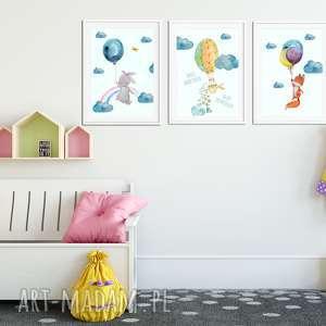 balony pokoik dziecka turkusowe tryptyk twoje marzenia a4