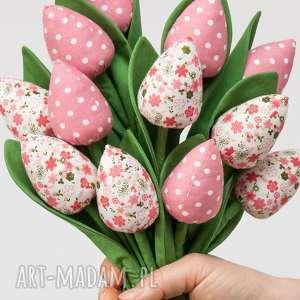 różowe pokoik dziecka fabric flowers tulipany z materiału bukiet
