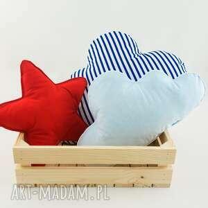 niebieskie pokoik dziecka czerwona gwiazdka zestaw 3 poduch marynarski