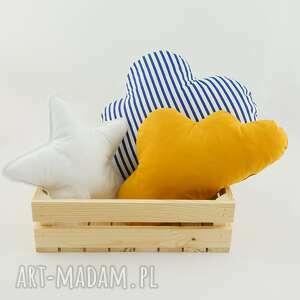 białe pokoik dziecka poduszka w-paski zestaw 3 poduch musztardowy