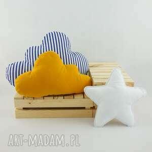 handmade pokoik dziecka poduszka w-paski zestaw 3 poduch musztardowy