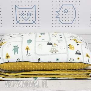hand made zestaw kocyk i płaska poduszka