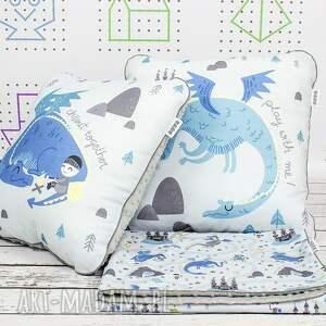białe pokoik dziecka poduszka zestaw kocyk i 2 poduszki dragon