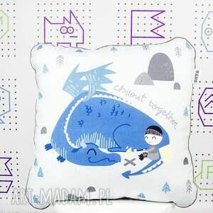 kocyk pokoik dziecka niebieskie zestaw i 2 poduszki dragon