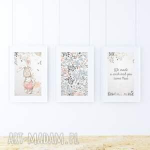 pokoik dziecka kwiaty zestaw 3 plakatów / we made a wish