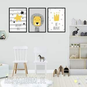 pokoik dziecka lew zestaw 3 plakatów szary lew
