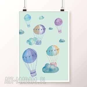 niebieskie pokoik dziecka obrazek zestaw plakatów balloons a3