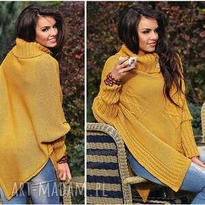 szare poncho sweter asymetryczny ponczo