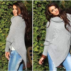 trendy poncho pled asymetryczny sweter ponczo