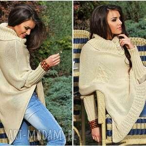 niekonwencjonalne poncho ponczo asymetryczny sweter