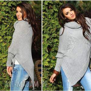 poncho wdzianko asymetryczny sweter ponczo