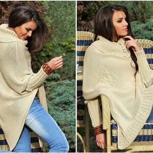 trendy poncho ponczo asymetryczny sweter