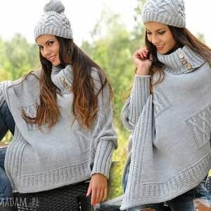 poncho pled asymetryczny sweter ponczo