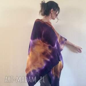 handmade poncho unikatowe ciepłe wełniane miodowo fioletowe