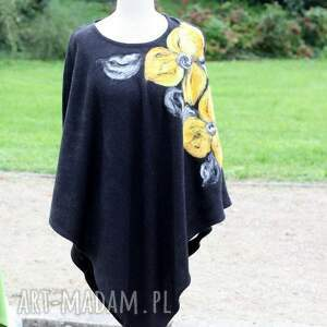 wyjątkowe poncho czarne damskie filcowane