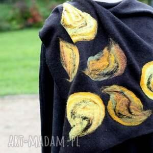 poncho płaszcz czarne damskie filcowane